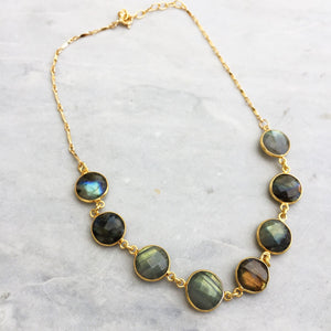 Neutral Gemstone Bezel Choker