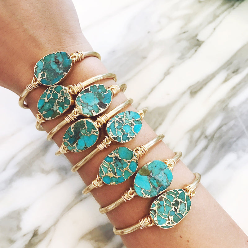 Genuine Natural Raw Turquoise Cuff Bracelet - Gypset