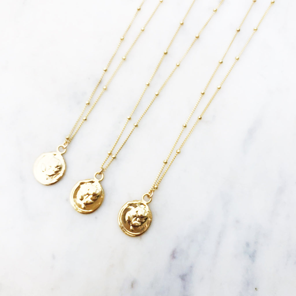 Rose Stamp Coin Necklace