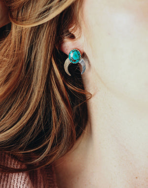 Planet Gypsy Turquoise Moon Earrings