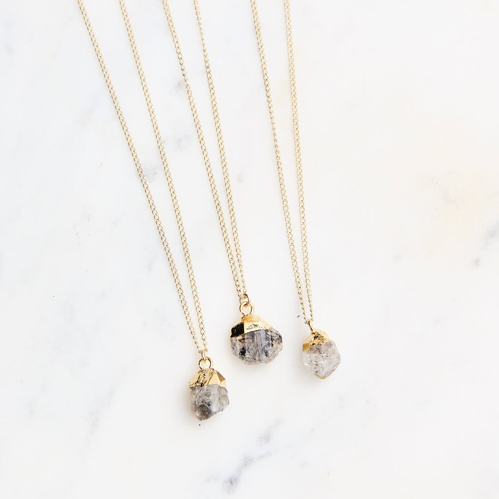 Raw Herkimer Diamond Chunk Necklace - Gypset