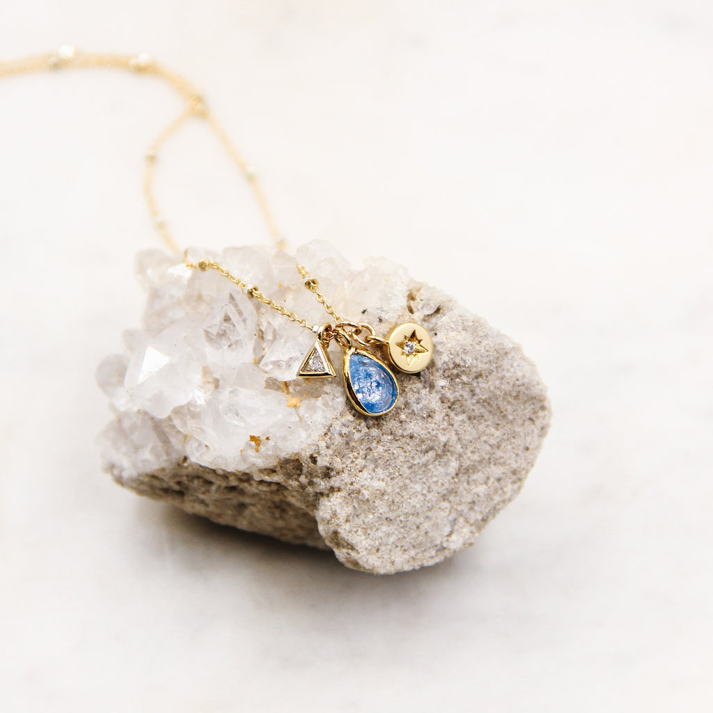 Blue Gemstone Teardrop Charm Necklace