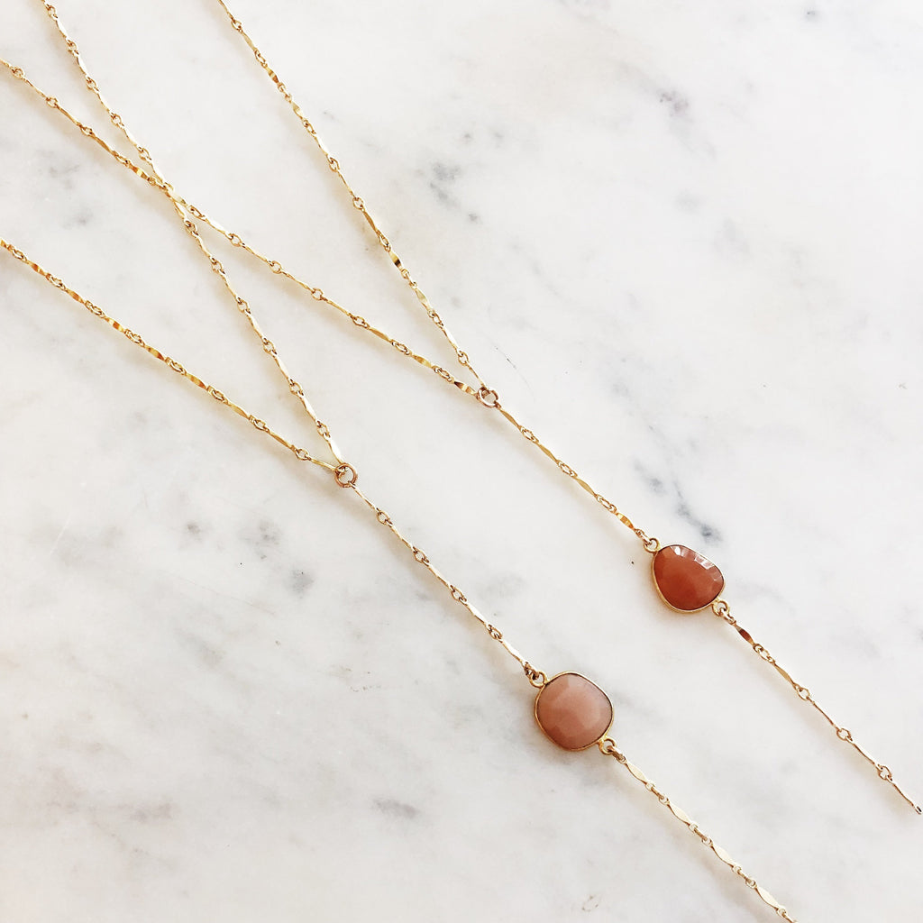 Pink Gemstone Lariat Necklace
