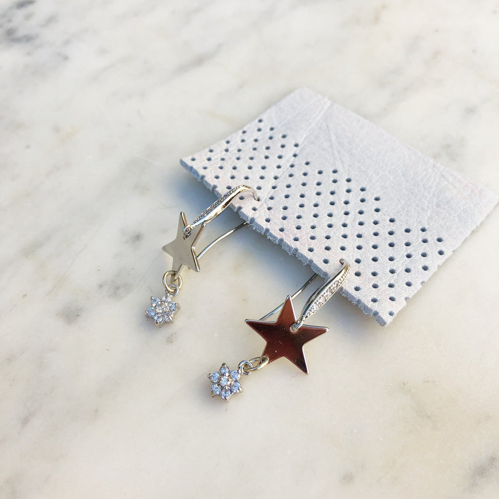 Silver Glam Star Earrings