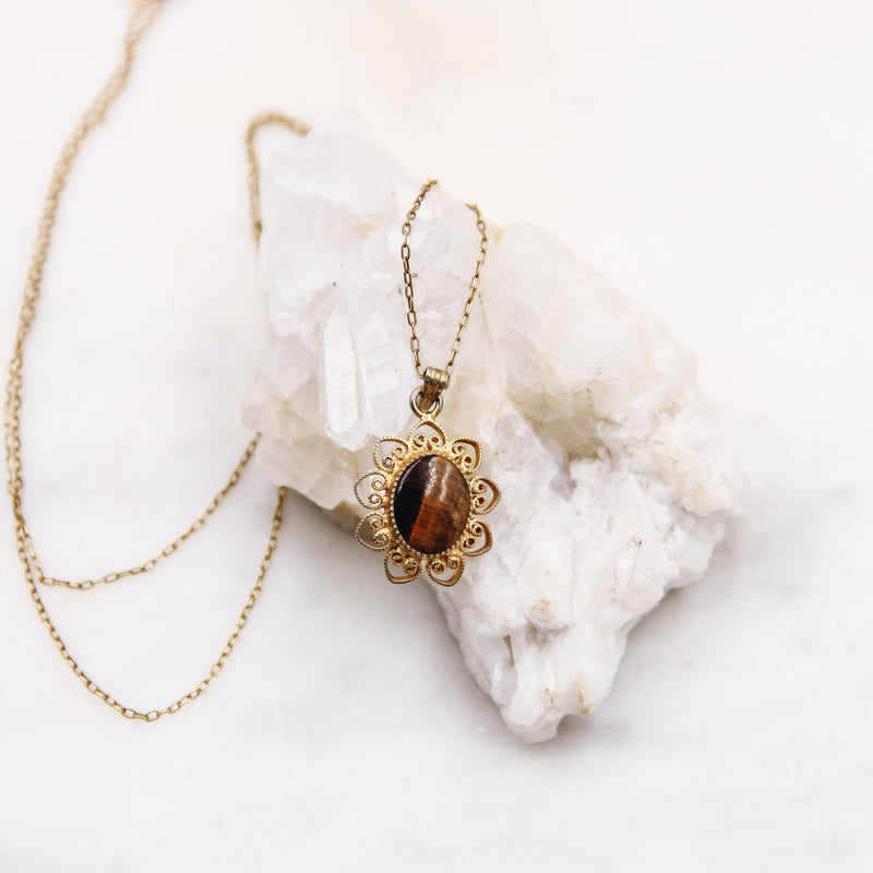 Vintage Tigers Eye Filigree Layering Necklace