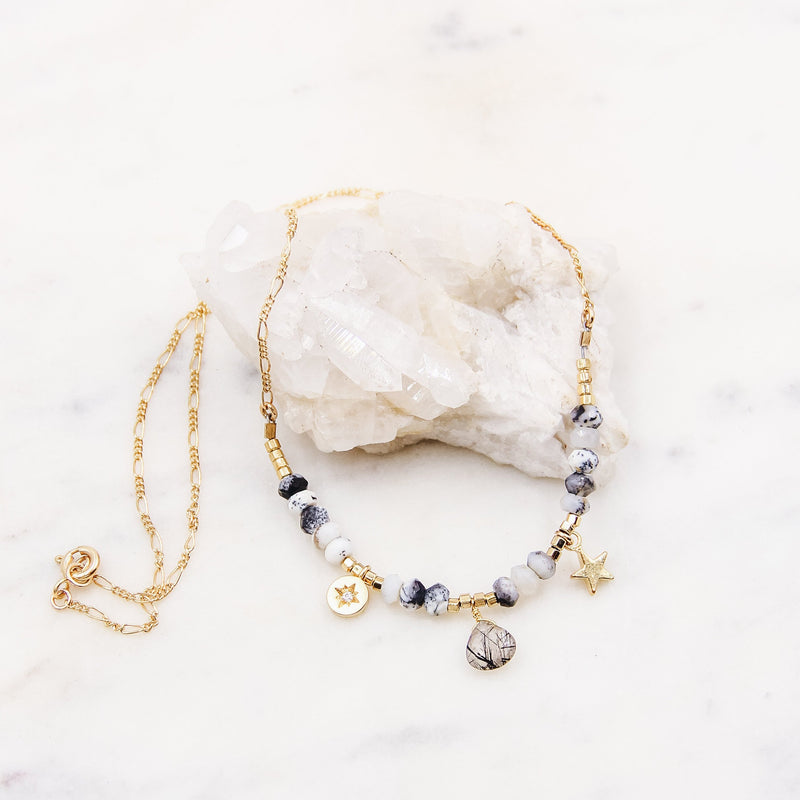 Smokey Beaded Charm Necklace