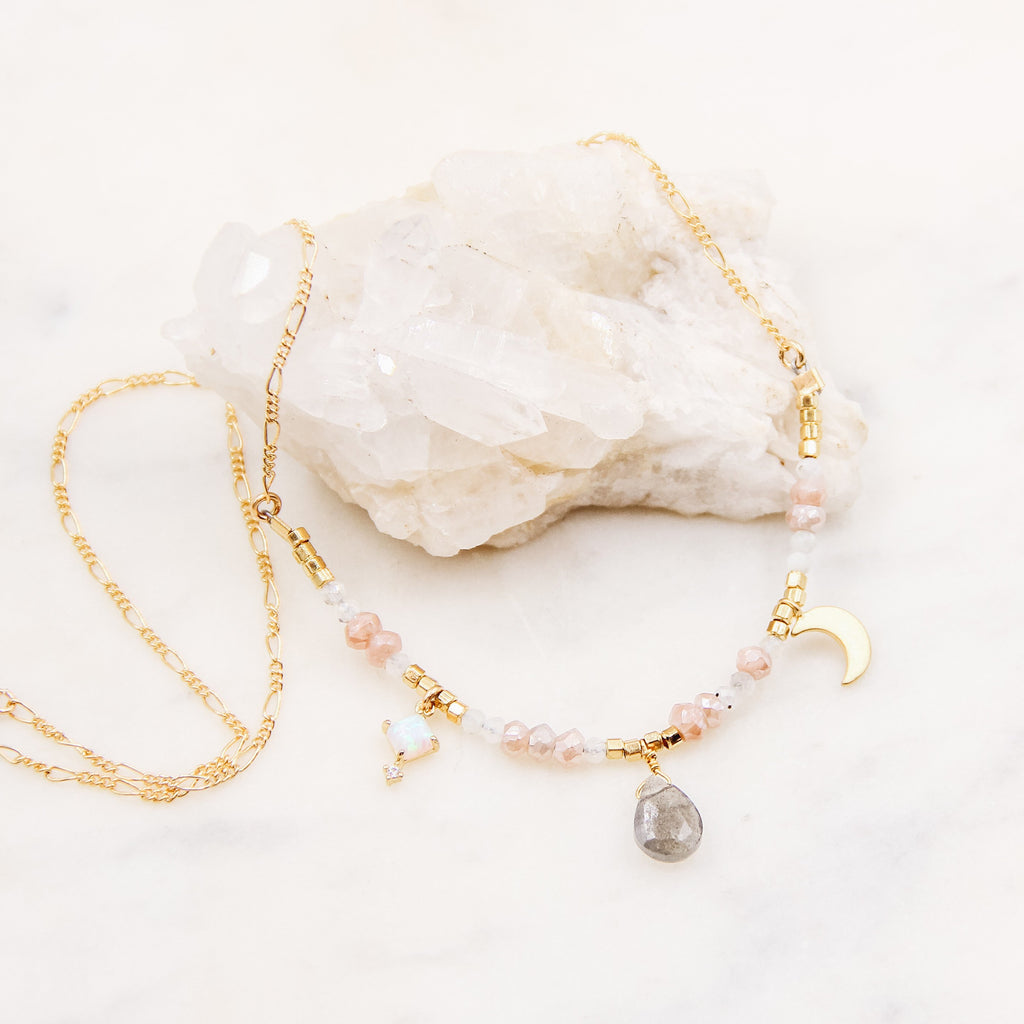Rosey Beaded Charm Necklace