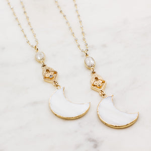 Vintage Crescent Moon Layering Necklace