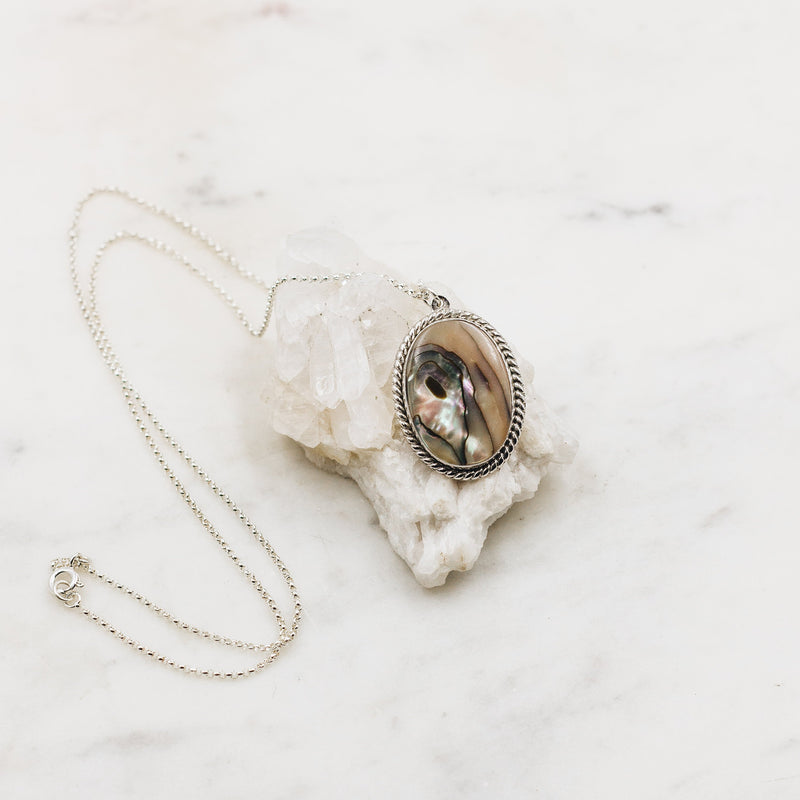 Vintage Abalone Pendant Necklace