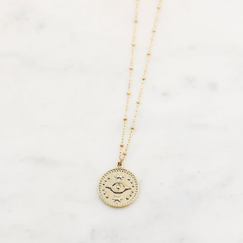 Evil Eye Stamp Coin Necklace
