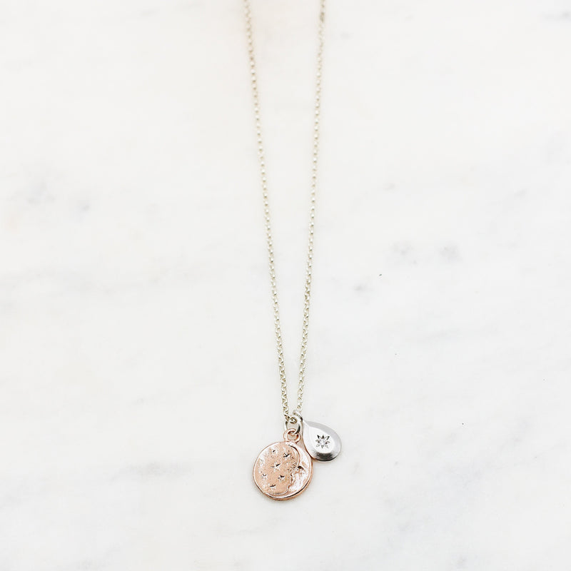 Sterling Silver Star + Moon Coin Necklace