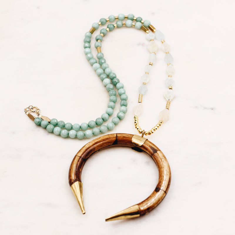 Aquamarine + Turquoise Beaded Horn Necklace