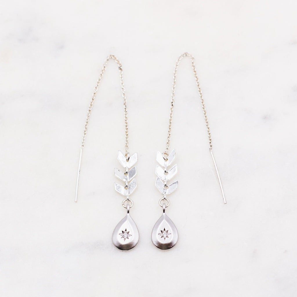 Sterling Teardrop Fishbone Threader Earrings