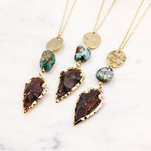 Turquoise and Jasper Arrowhead Necklace