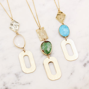 Geometric Layering Gemstone Necklace