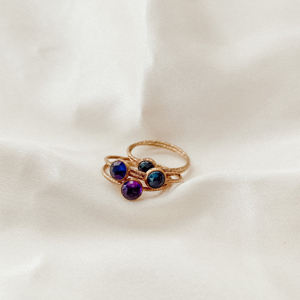 Tiny Amethyst or Sapphire Stacker Ring