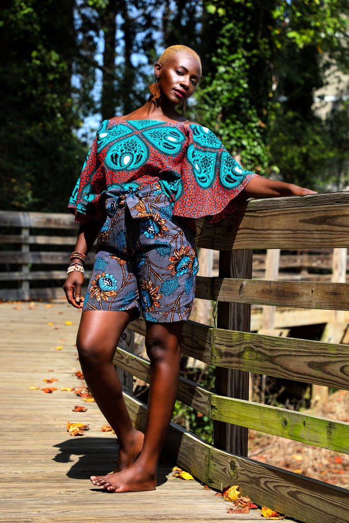 Abena African Print Dolman Sleeves Top