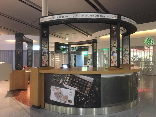 Lir Chocolates Pop-up stand at Dublin Airport