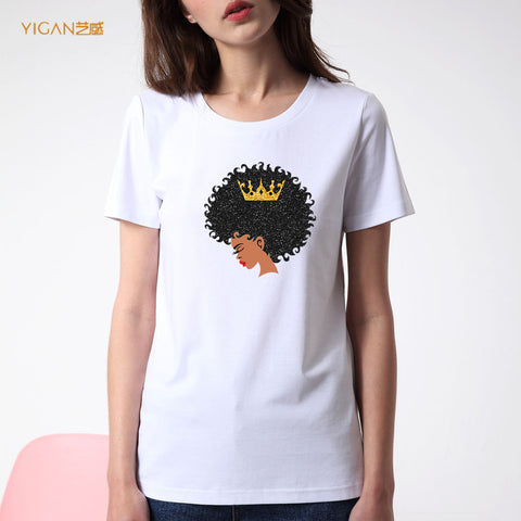 Afro Girl Queen Women T-shirt O-neck Tee Print Shirts