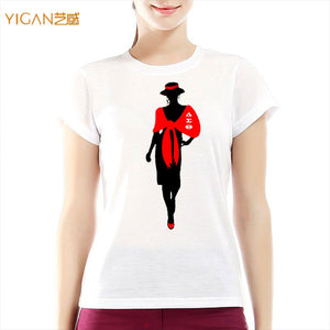 New heat printing vinyl DST afro girl motif women clothing lady shirt