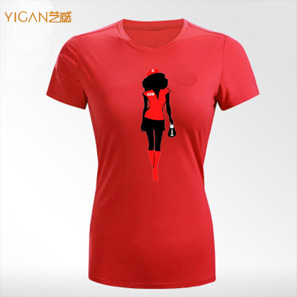 Personalized Delta Afro Girl Printing Bulk Round Neck Women T-Shirt