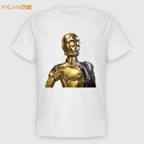 Promotional Metal Pu Vinyl Heat Robot Design Transfer Iron On Fancy Men T-shirts