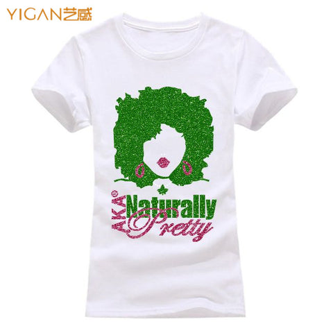 AKA Afro Girl T-shirt Design Printed Cotton Women Tshirts Tops