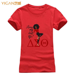 AEO Lady Life Glitter Design Tshirt Women O-neck Short Sleeve T-shirt for Cotton Tee Shirts