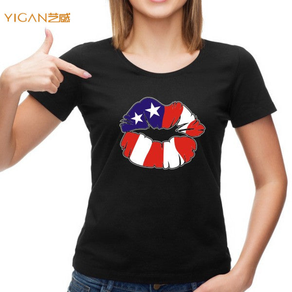 4th of July lips transfer 95% cotton o-neck women printed tshirt
