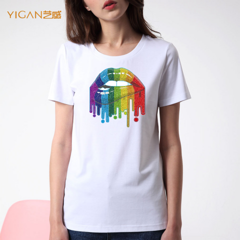 Women Short Sleeve T shirts With Rainbow Printing Lips Transfer