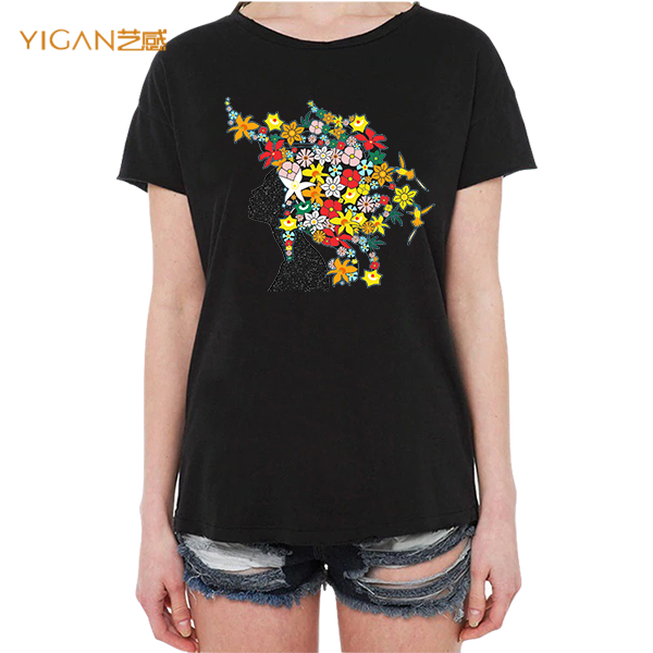 Women Graphic Tshirt Bling Printable Flower Glitter Afro Heat Transfer