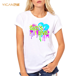 Printing god's love glitter rhinestone transfer 95% cotton women tshirts