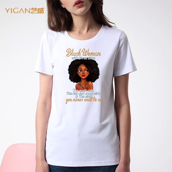 Bling Glitter Letters Printing Afro Round Neck T-shirts Women Stylish