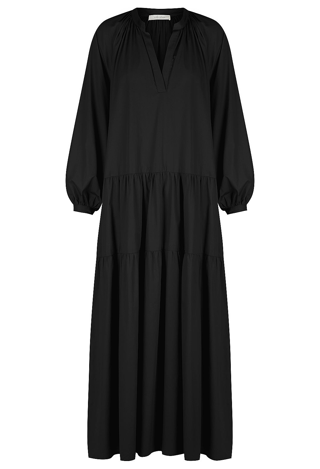 V Neck Long Sleeve Gathered Dress