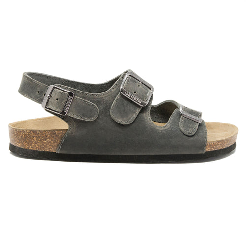 Mens Milano sandals dark grey leather classic
