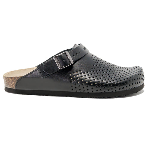 Men's clogs Stocholm Leather perforated black