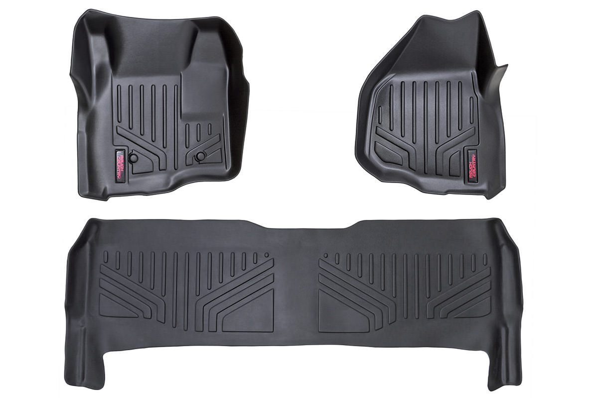 (SKU: M-51223) HEAVY DUTY FLOOR MATS [FRONT/REAR] - (11-16 FORD SUPER DUTY CREW CAB | DEPRESSED PEDAL)