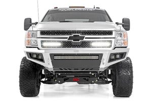 (SKU: 70155) CHEVY MESH GRILLE W/ DUAL 12IN BLACK SERIES LEDS (11-14 SILVERADO HD)