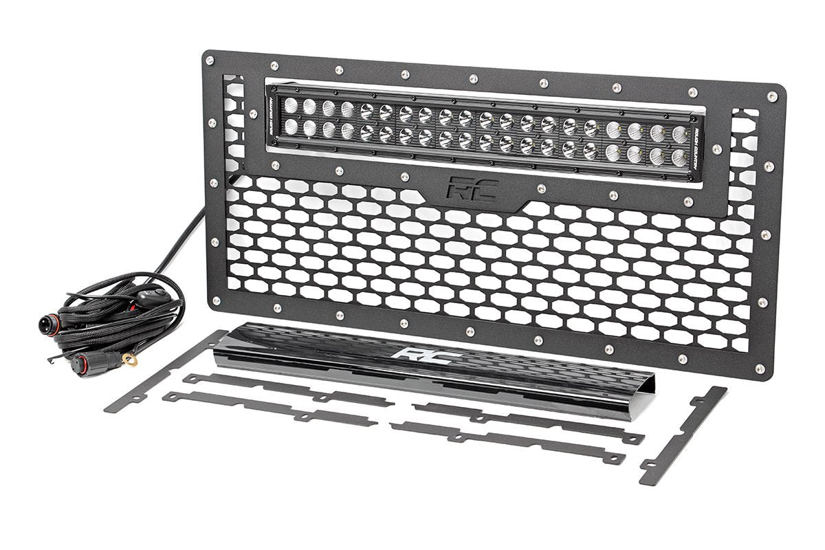 (SKU:10545) JEEP MESH GRILLE W/20IN LED LIGHT BAR (07-18 WRANGLER JK)
