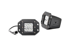 (SKU: 70803) 2-INCH SQUARE FLUSH MOUNT CREE LED LIGHTS - (PAIR | CHROME SERIES)