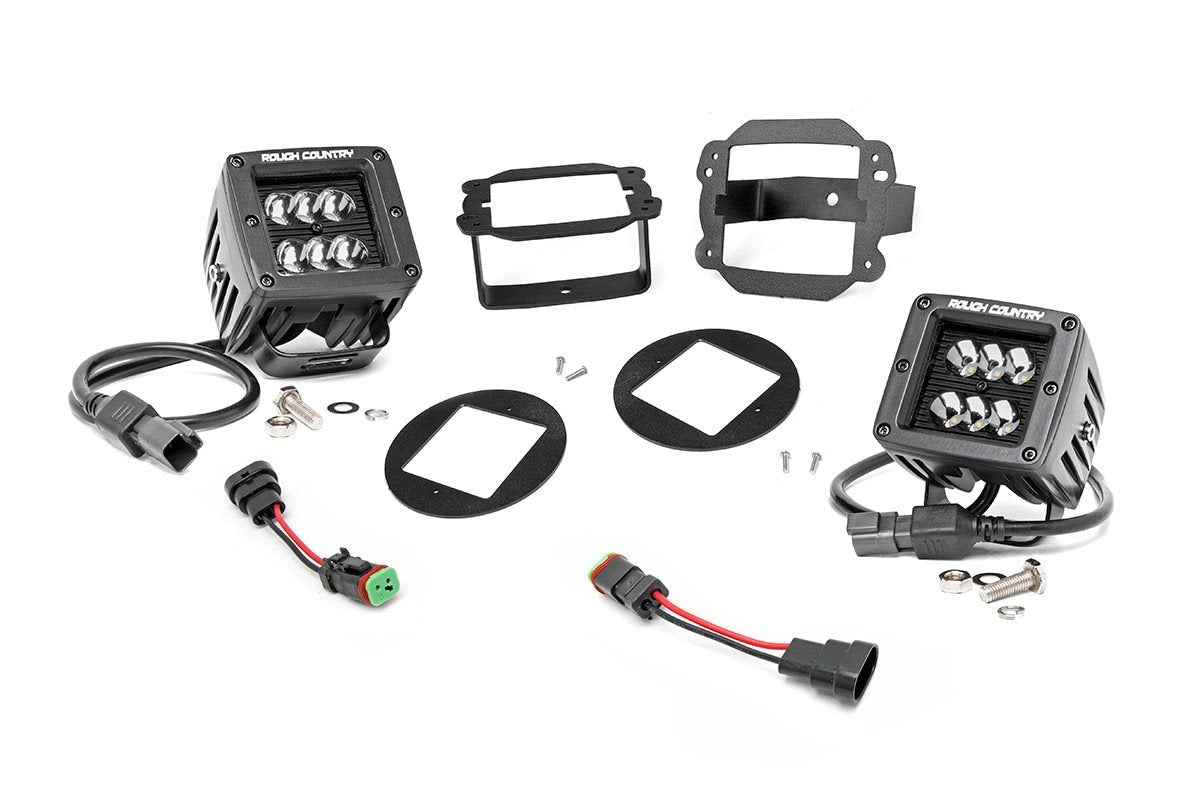 (SKU: 70623) JEEP 2-INCH CREE LED FOG LIGHT KIT (BLACK SERIES | 07-09 JK WRANGLER)