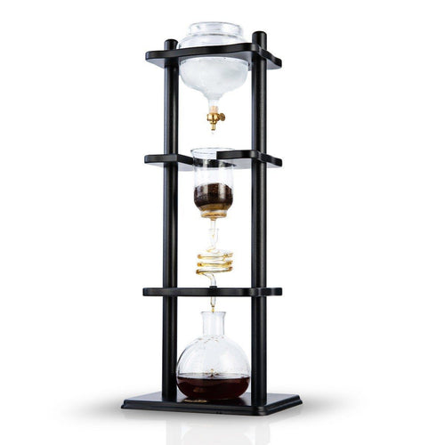 6-8 Cup Cold Drip Maker Straight Black Wood Frame (32oz)