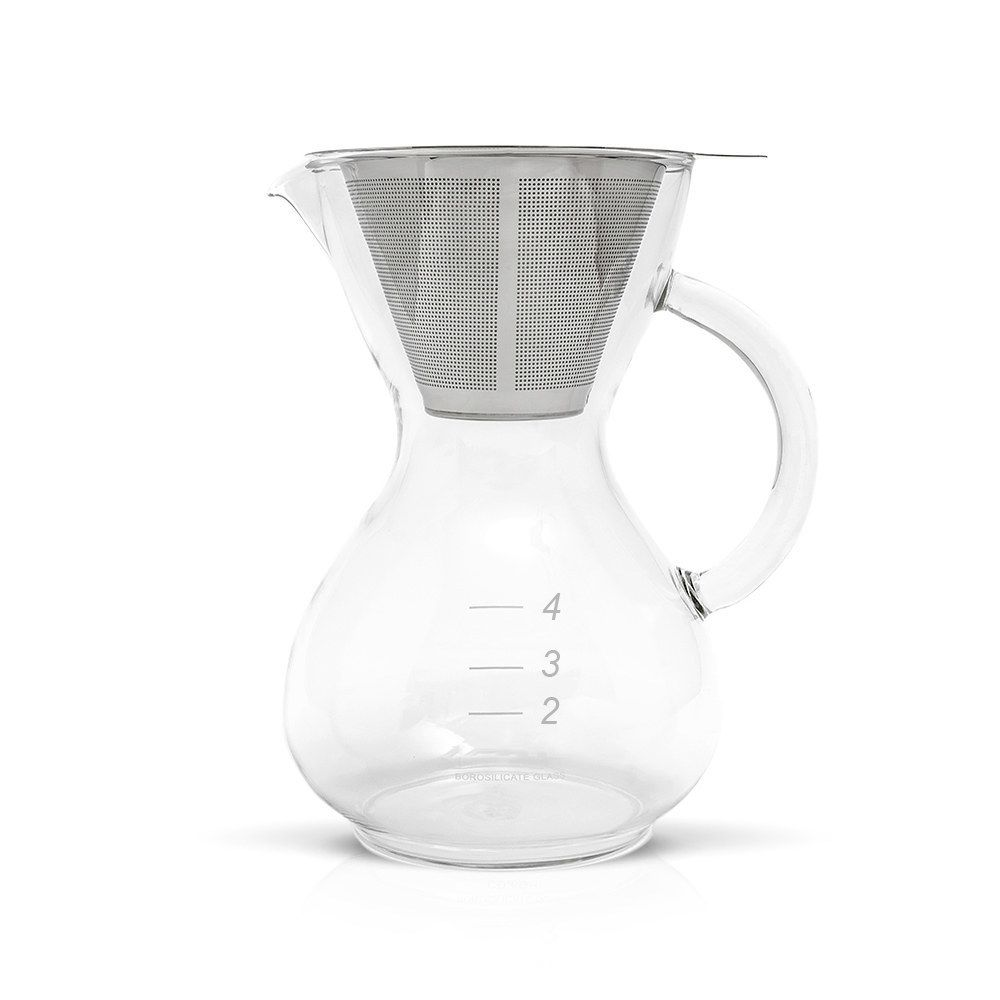 Yama Coffee Drip Pot with Glass Handle and Stainless Cone Filter - 20oz