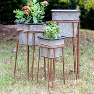 Set of 3 Square Metal Garden Planters