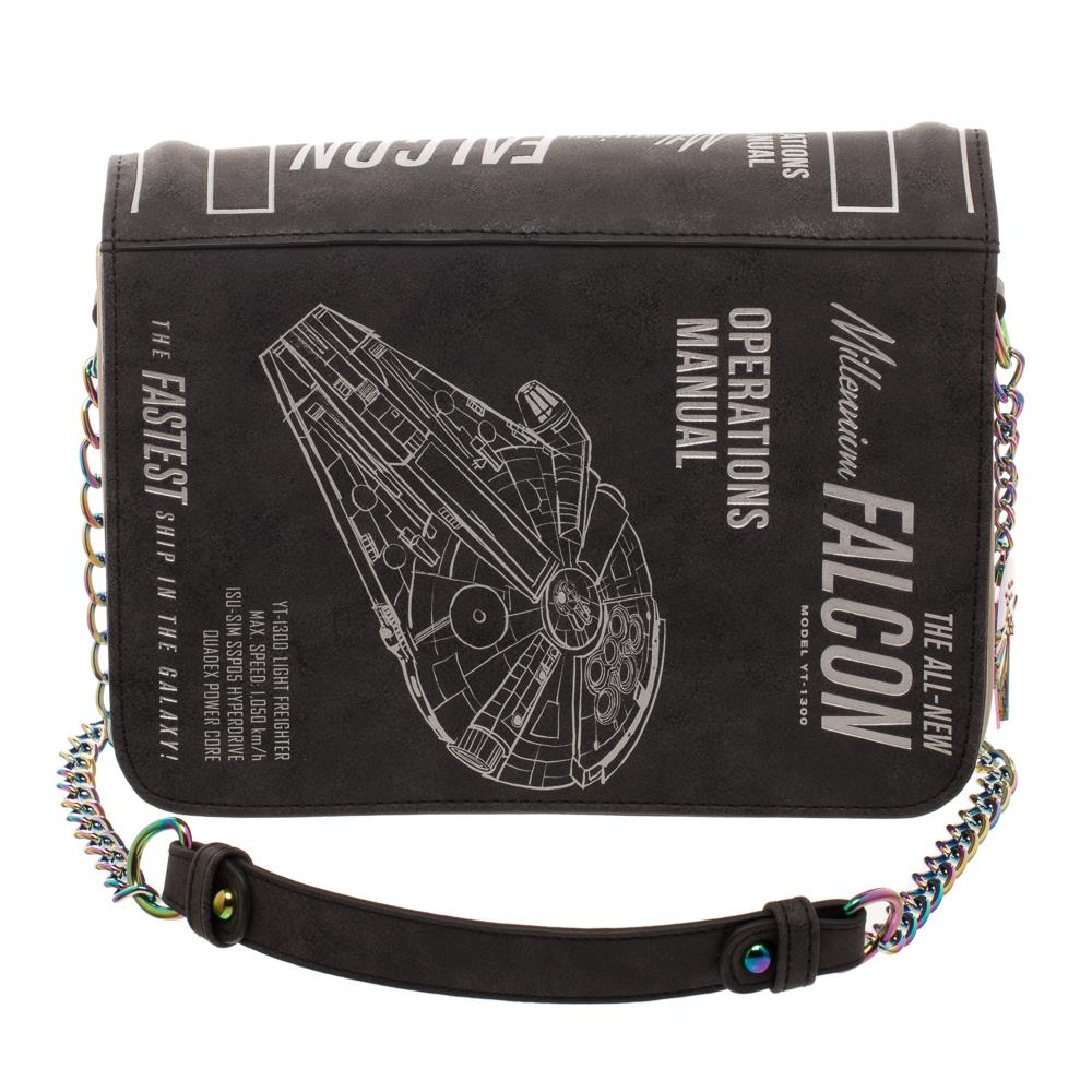 Bioworld Star Wars Millenium Falcon Operations Manual Crossbody Clutch Handbag