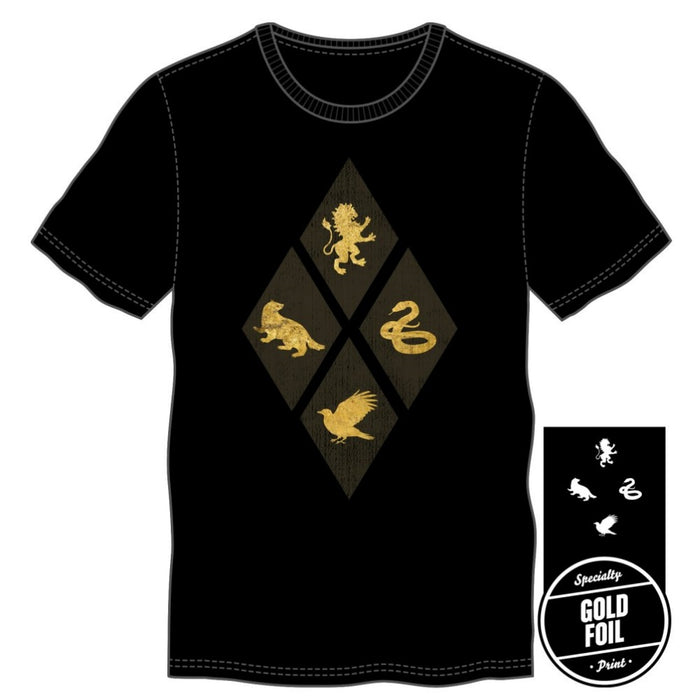 Harry Potter Hogwarts House Gold Foil T-Shirt