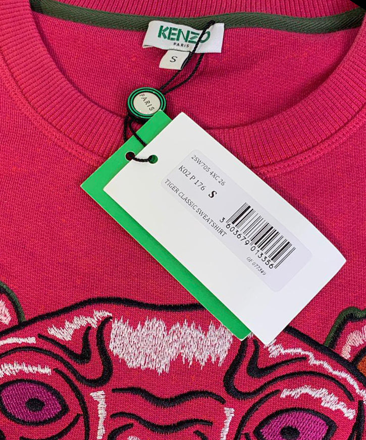 fb1c0228 Kenzo Pink Embroidered Icon Tiger Sweatshirt Top Signature - Size S