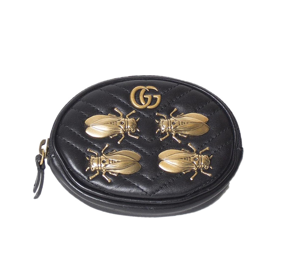 936a6c0dc Gucci Marmont Gg Animal Stud Black Leather Wristlet – The House of Brand