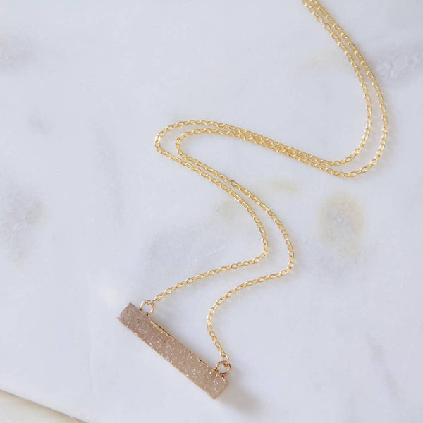 Natural Druzy Bar Necklace - StyleMeGHD
