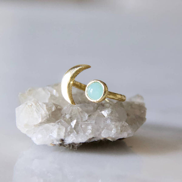 Amazonite Moon Ring - StyleMeGHD